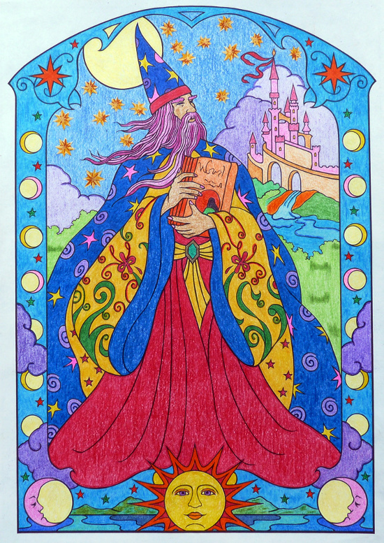Merlin the Wizard coloring illustration drawing