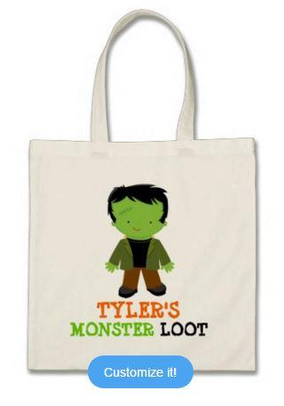 Green Frankenstein monster loot bag trick treating halloween october 31st