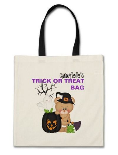 Trick or treat teddy bear witch pumpkin frog tote