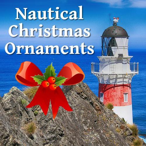 nautical lighthouse boat ship sea theme christmas holiday tree ornaments