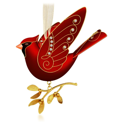 festive cardinal birds christmas ornaments. Black Bedroom Furniture Sets. Home Design Ideas