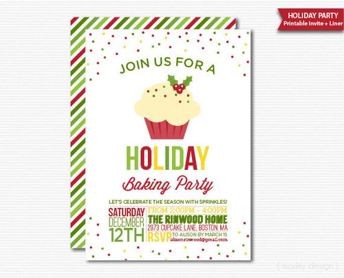Cupcake party invitations for the christmas holiday holiday baking party invitation which you print yourself or email to friends and family solutioingenieria Image collections