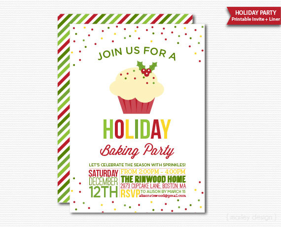 Cupcake party invitations for the christmas holiday solutioingenieria Images