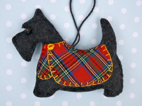 black felt scottie dog design handmade tartan jacket ornament