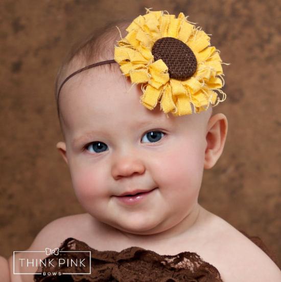 Baby Headbands Sunflower Burlap Rustic wedding flower girl