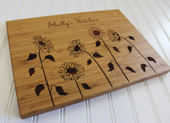 Personalized Mothers Day Sunflower Kitchen Art Mom Gift Wood Chopping Board Hostess Gift Home Decor Housewarming