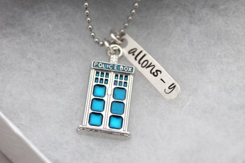 Police Box Necklace Allons-y Whovian Geek Jewelry