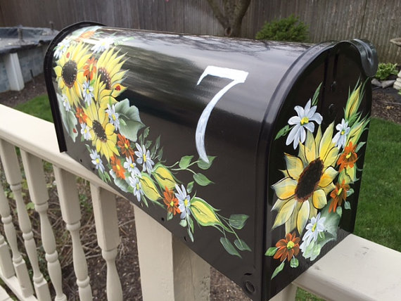 Mailboxes hand painted mailbox sunflowers yellow flowers personalized unique charming mail box house number