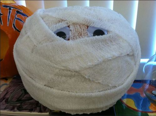 egyptian Mummy decorated pumpkin