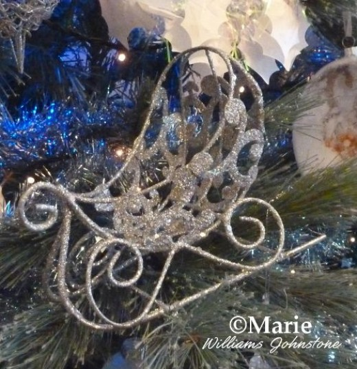 christmas tree silver color sleigh hanging decoration