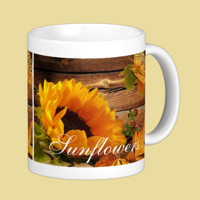 Mug, I Love Sunflowers Rustic Country Fall Flower