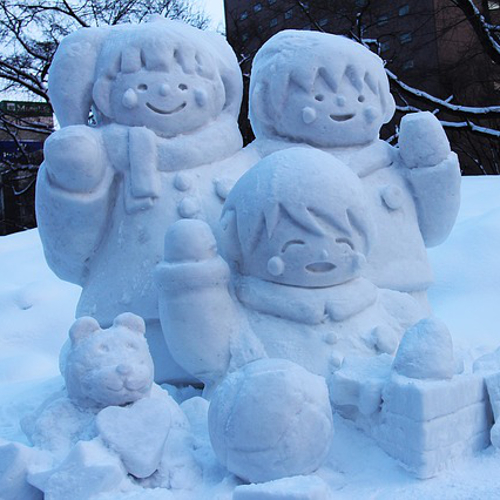 outdoor snow toys kids carve things from snow
