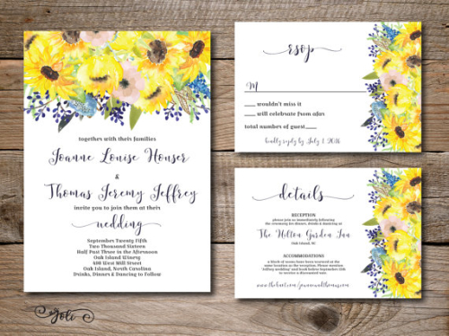 Printable Watercolor Blue and Sunflower wedding invitation RSVP and OPTIONAL details card print yourself digital file