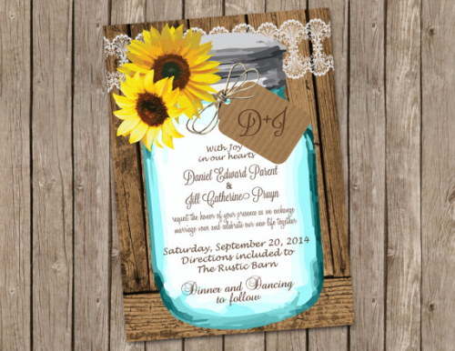 Sunflower Wedding Invitation with Shabby Wood and Mason Jar printable 5x7
