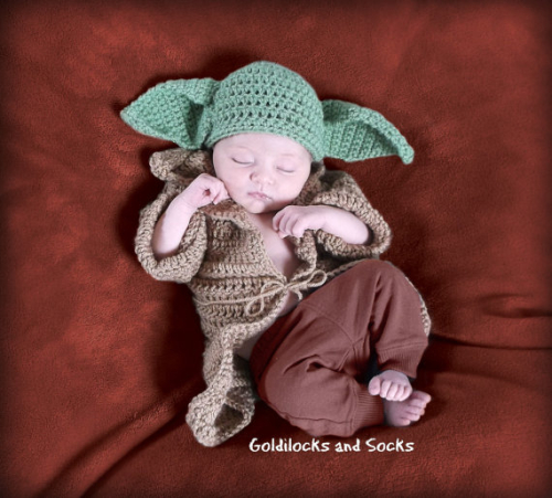 Baby costume Yoda inspired crochet hat Halloween newborn star wars costume