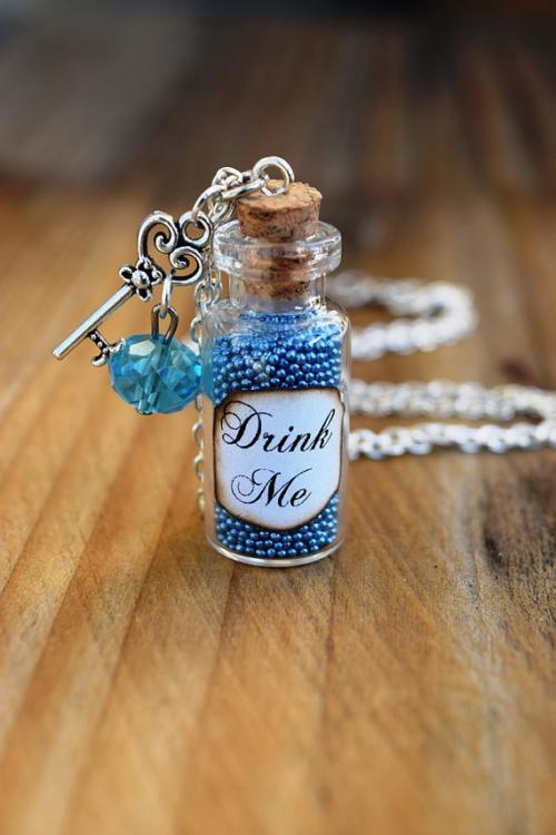 Drink Me Potion Bottle Alice in Wonderland Jewelry Costume Fairy Tale Blue Bottle Necklace Gift for Fan