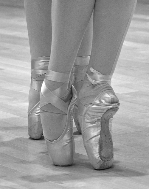 ballet shoes black and white photograph