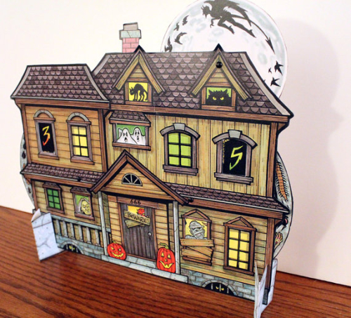 Halloween Countdown Advent Calendar Haunted House with spinning wheels to change the date