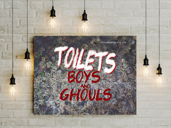 Halloween bathroom Decor 8x10 Printed Toilet Sign boys ghouls black red white scary handprint art party decor room sign