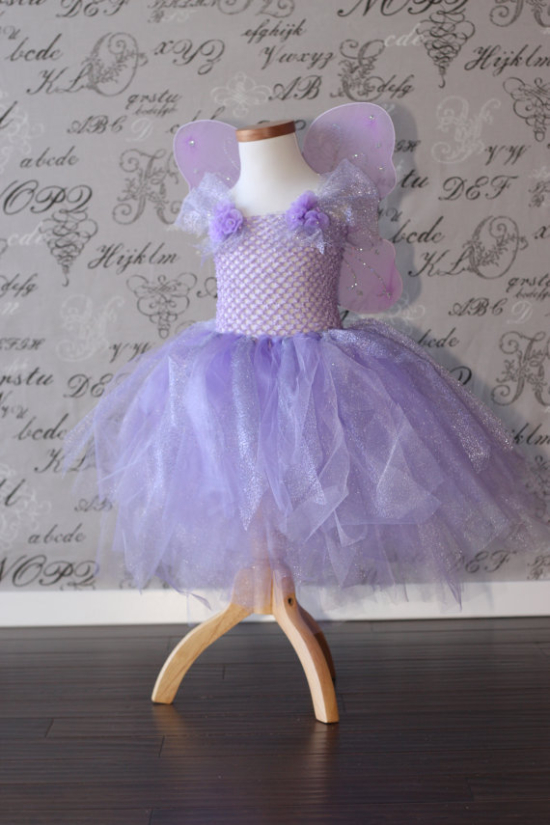 Lavender Princess Fairy Tulle Tutu Dress-up Halloween Costume Flower Girl Dress Wedding Bridal Children Toddler Infant Custom Crochet