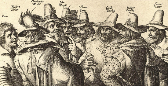 A contemporary engraving of eight of the thirteen gunpowder plot conspirators, by Crispijn van de Passe