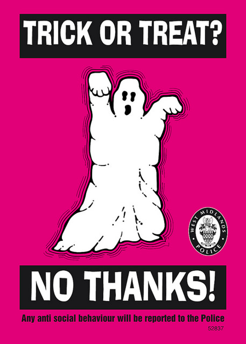 West Midlands Police pink no trick or treating sign