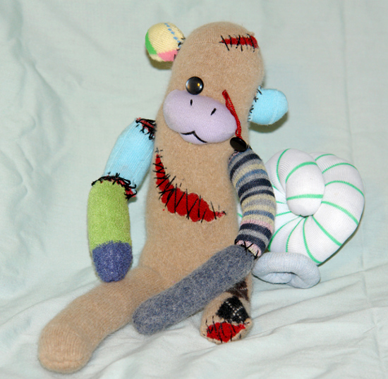 soft plush zombie sock monkey toy