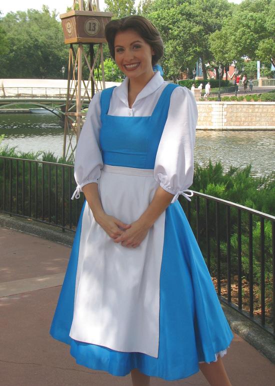 Village life blue dress Belle cosplay costume dress and white apron