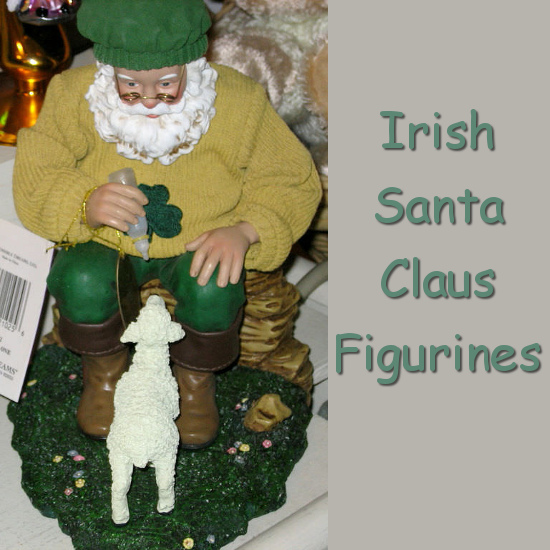 Irish Santa Claus with Lamb and Shamrock Jumper