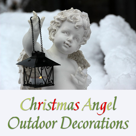 Outdoor Winter Angel with a Lit Lantern