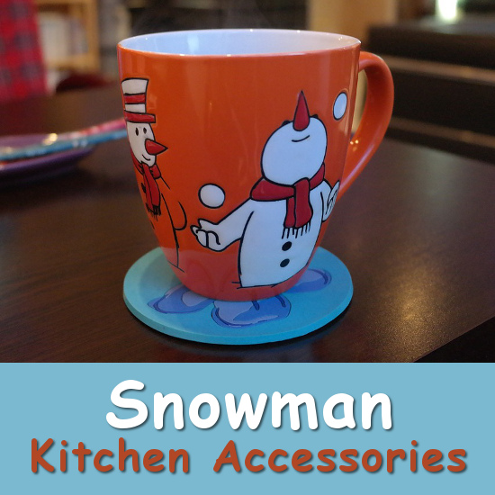 snowman mug cup in red and white perfect kitchen accessory for the Christmas season