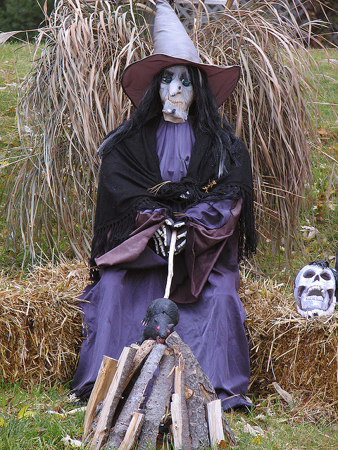 purple color Halloween witch character and rat