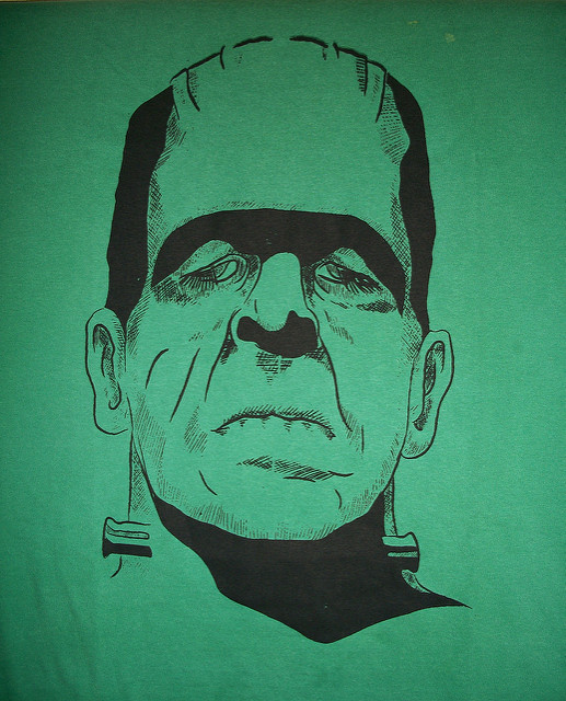 drawing sketch Frankenstein Monster on green bacjground