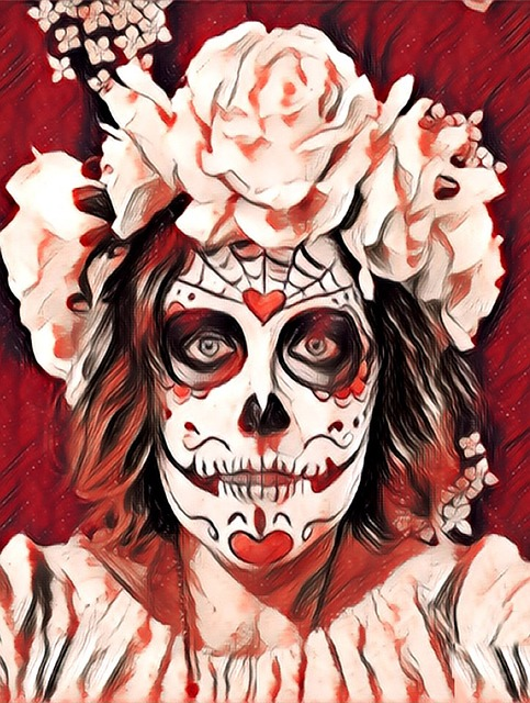 Day of the dead red white skull face drawing