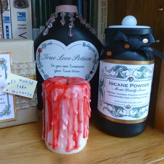The Princess Bride Halloween display set with potion bottle props made from the movie
