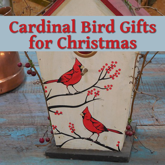 Red Cardinal birds painted on birdhouse box gift