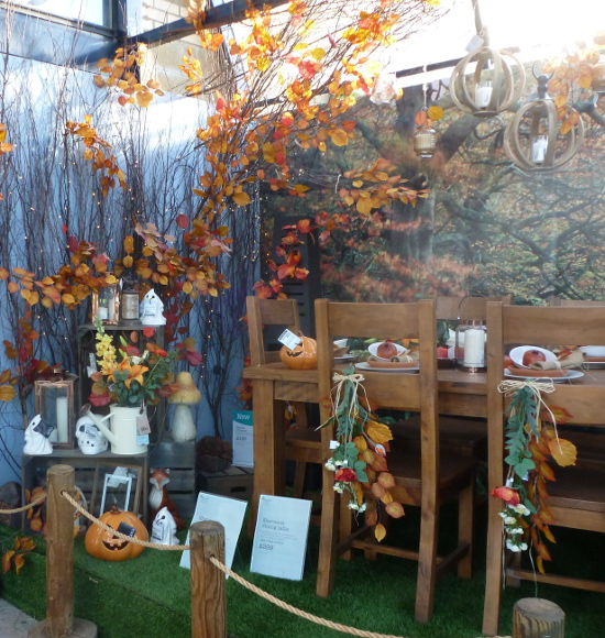 Halloween display with Fall themed items