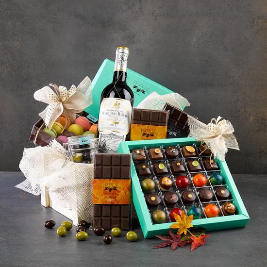 Chocolate wine gift basket hamper set