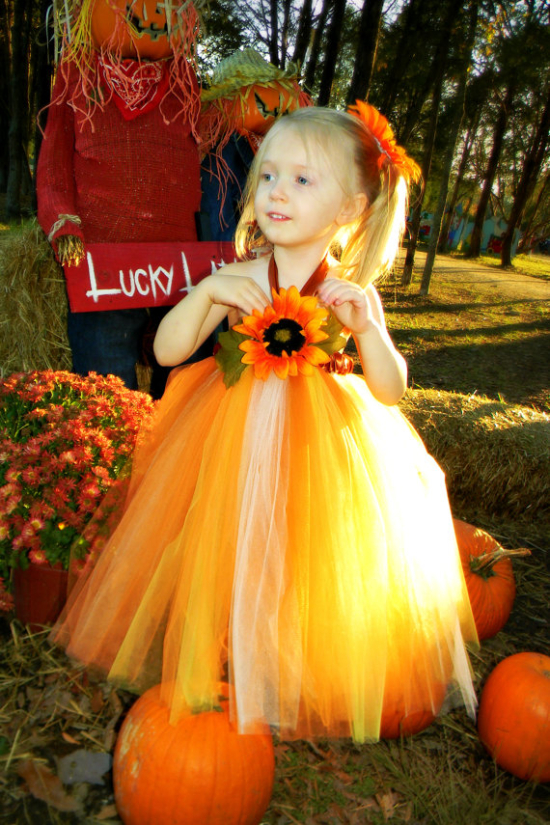 Scarecrow Fall Halloween Costume with Sunflower Accent Tutu Dress for Girls