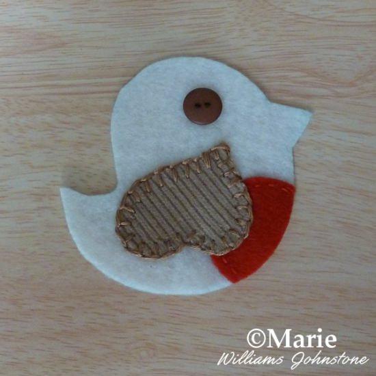 Hand sewn stitched bird whimsical cute free pattern