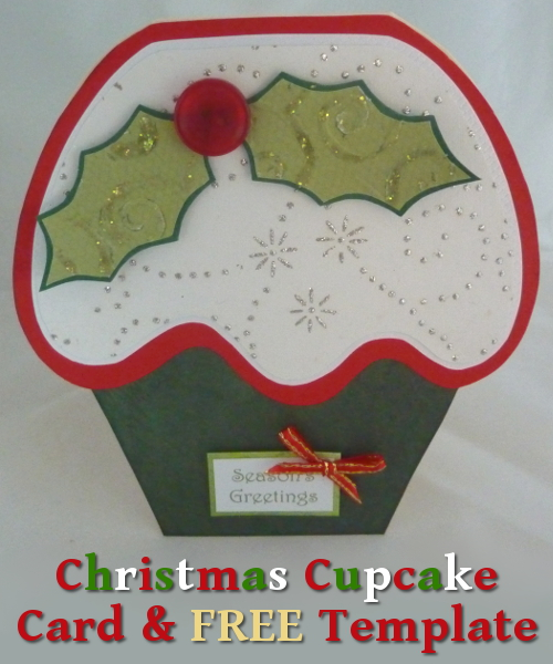 Cupcake shaped festive Holiday Christmas card seasonal craft project tutorial card making paper crafts papercraft