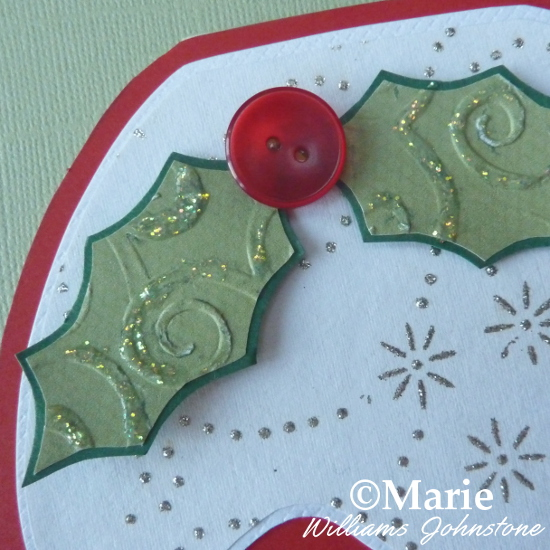 Holly berry button detail festive Christmas card