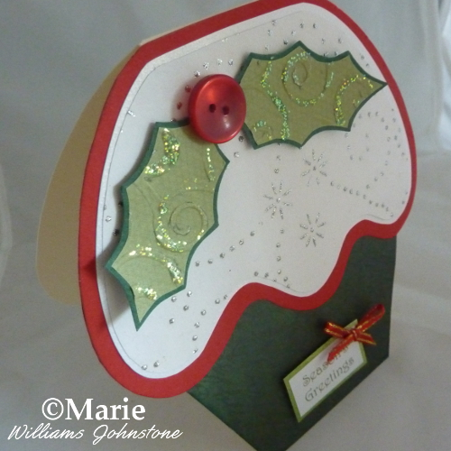 Xmas cupcake shaped holly card Christmas craft DIY papercraft paper crafting
