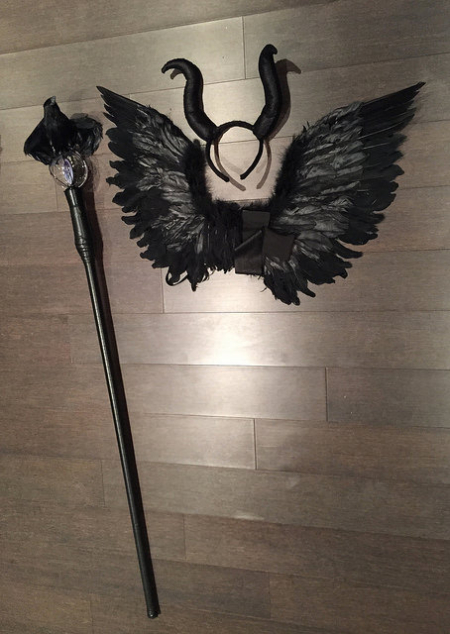 Maleficent Costume Accessories black wings staff horns headpiece
