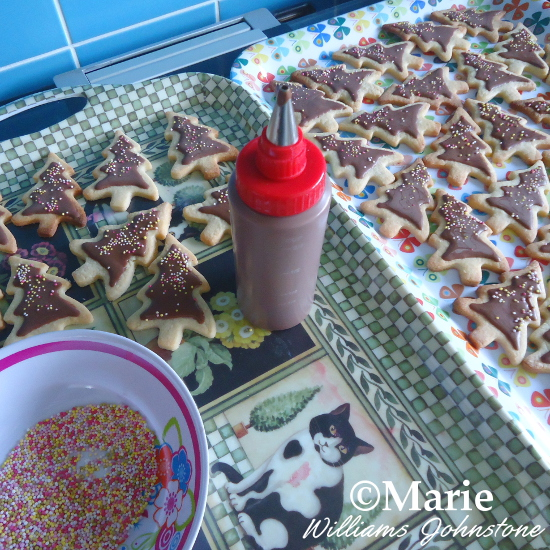 How to Decorate your Baked Christmas Tree Cookie Designs Chocolate Icing and Sprinkles