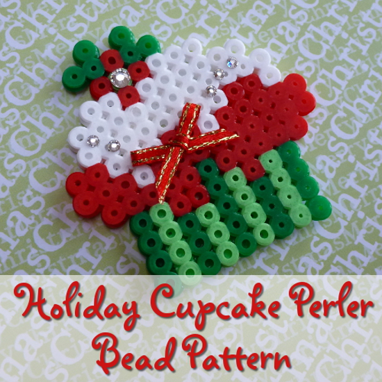 Cupcake Perler Bead Christmas Holiday Pattern: Make Tree Ornaments, Brooch Pins and More