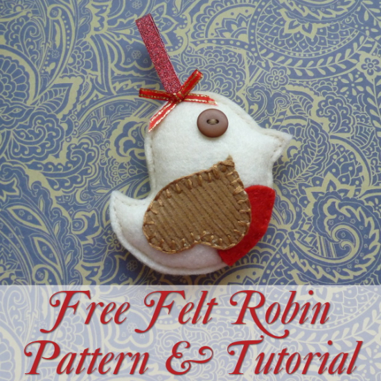 Free Felt Robin Pattern Template to make this bird plush ornament for Christmas crafting sew by hand beginner project