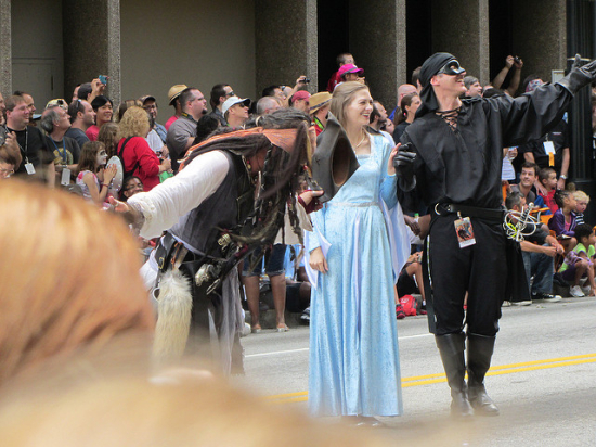 DragonCon Parade Dread Pirate Roberts Westley The Princess Bride and Buttercup in Blue Dress Costumes