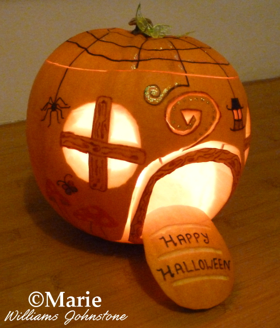 Happy Halloween fairy home pumpkin carving carved house magical