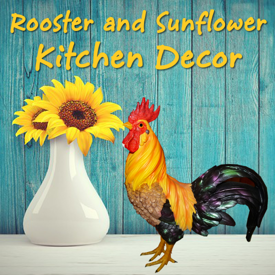 Rooster and Sunflower Kitchen Decor Theme Accessories for Your Table and Country Style Gifts for Fans of this Flower